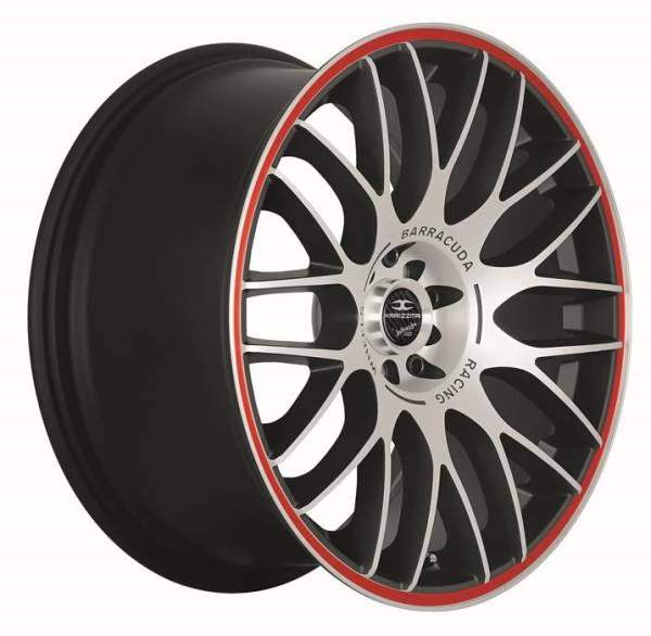 BARRACUDA KARIZZMA Mattblack-polished / Color Trim rot Felge 7,5x17 - 17 Zoll 5x112 Lochkreis