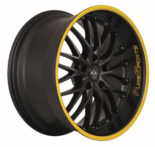 BARRACUDA VOLTEC T6 Mattblack Puresports / Color Trim gelb Felge 8,5x19 - 19 Zoll 5x112 Lochkreis