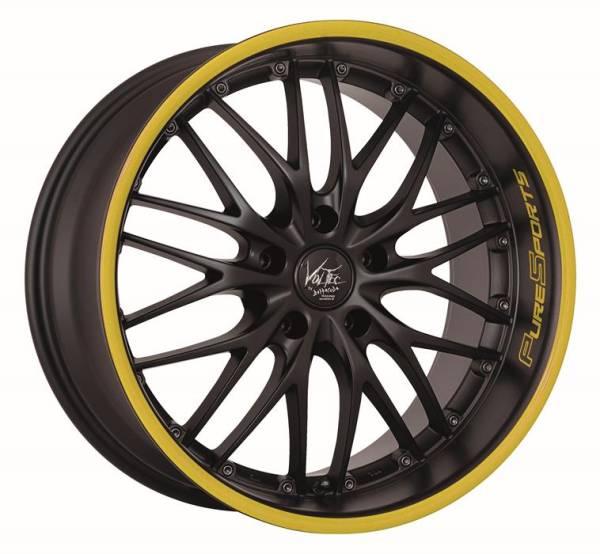 BARRACUDA BARRACUDA VOLTEC T6 Mattblack Puresports / Color Trim gelb Felge 8x18 - 18 Zoll 5x112 Loch