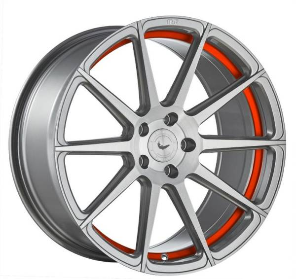 BARRACUDA PROJECT 2.0 silver brushed/ undercut Colour Trim rot Felge 9,5x19 - 19 Zoll 5x120 Lochkrei