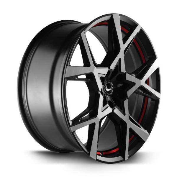 BARRACUDA PROJECT X Black brushed Surface undercut Trimline red Felge 10x22 - 22 Zoll 5x127 Lochkrei