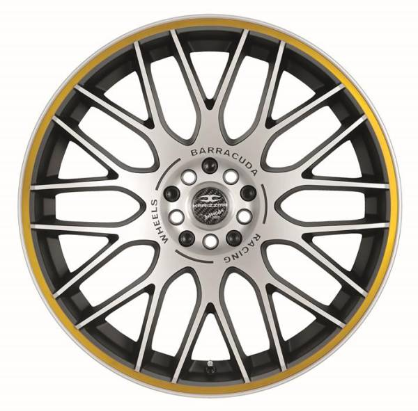 BARRACUDA KARIZZMA Mattblack-Polished / Color Trim gelb Felge 9,5x19 - 19 Zoll 5x110 Lochkreis