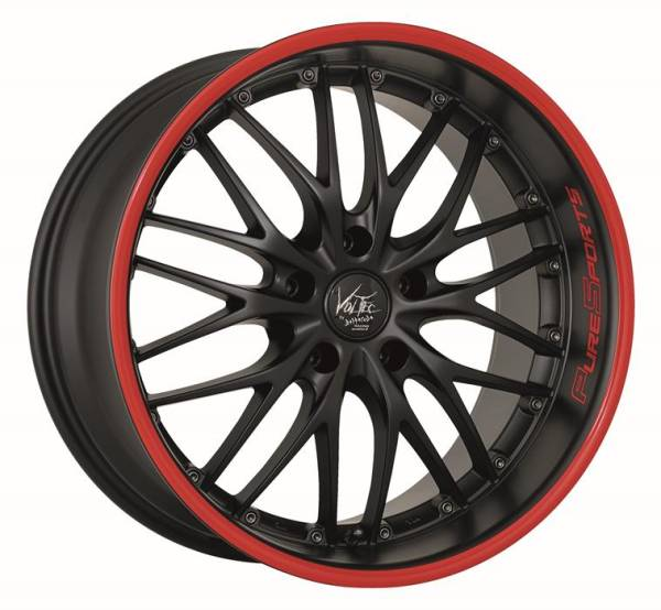 BARRACUDA VOLTEC T6 Mattblack Puresports / Color Trim rot Felge 9x18 - 18 Zoll 5x120 Lochkreis