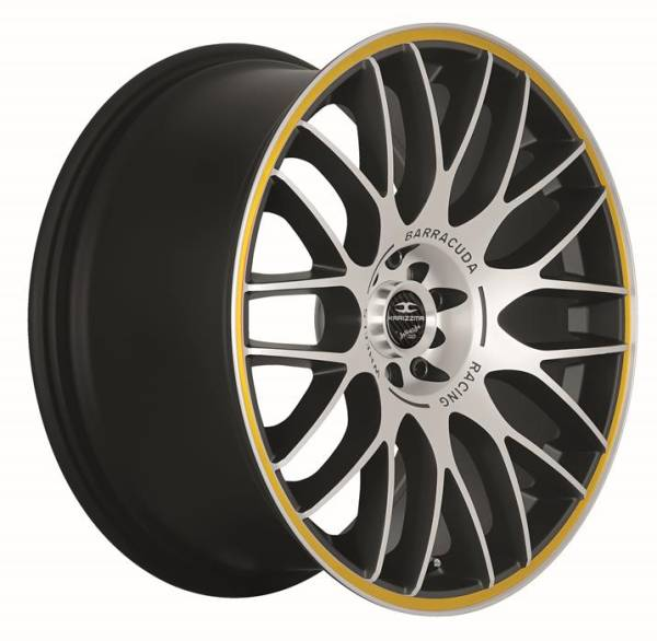 BARRACUDA KARIZZMA Mattblack-Polished / Color Trim gelb Felge 9,5x19 - 19 Zoll 5x112 Lochkreis